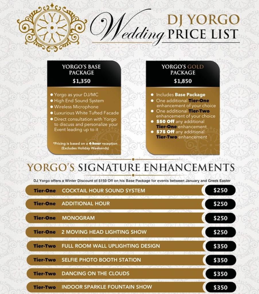 Wedding Pricing List